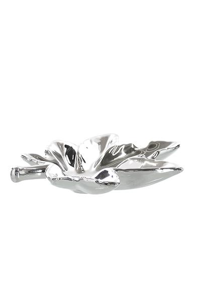 CHAMP High Leaf Porzellan Aschenbecher, Silber
